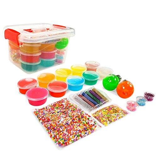 Ultimate DIY Clear Slime Kit - Make Slime Supplies - 12 Color Clear Slime w/ Bulbs Stretchy Jiggly Slime, Holographic Glitter, Slime Balls, Fruit Slime Slices - Make Your Own Crystal & Crunchy Slime