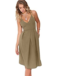 60ae02694c72 Eliacher Women s Deep V Neck Adjustable Spaghetti Straps Summer Dress  Sleeveless Sexy Backless Party Dresses with