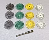 3M RADIAL BRISTLE DISCS 1'' DIAMETER 4 GRIT ASSORTMENT 12 BRUSHES & 1 MANDREL 1/8