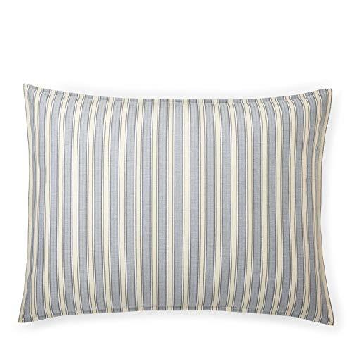 (Ralph Lauren Graydon Bold Stripes Cotton Standard Pillow Sham, Indigo Blue)