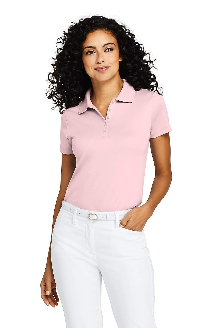 Lands' End Women's Supima Cotton Short Sleeve Polo Shirt XL Pink by Lands' End