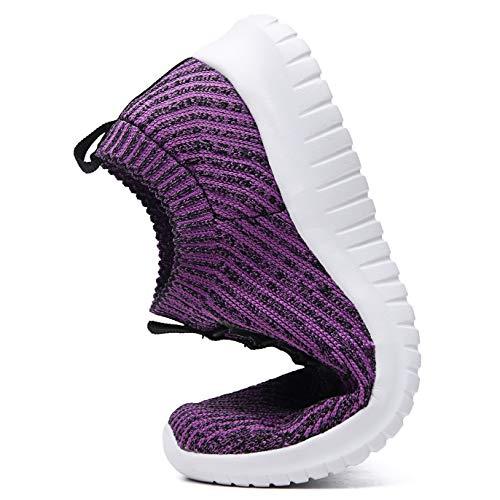 TIOSEBON Women's Lightweight Casual Walking Athletic Shoes Breathable Running Slip-On Sneakers 8.5 US Purple