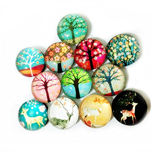 Koolemon 12pcs Glass Refrigerator Magnets Fridge Magnets Funny Magnets for Refrigerator Office Cabinets Whiteboards,Tree & Deer Decorative Magnets Photo Magnets