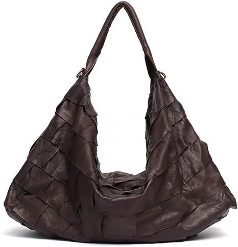 Bolso de cuero genuino para mujer, bolso de hombro grande