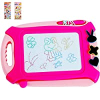 HUITEM Magnetic Drawing Board, Colorful Doodle Board, Erasable Sketching Pads, for Kids Toddlers Writing Painting, with 3 Stampers & 2 Stickers(Travel Size)