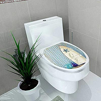 Auraise-home Decal Wall Art Decor Nautical Life Style Objects on Wooden Table Bathroom Creative Toilet Cover Stickers W6 x L8