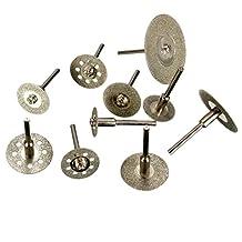 "Ocr TM 10X 1/8"" Carbon steel Diamond Saw Cut Off Discs Wheel Blades Rotary Tool Set Shank for Dremel"