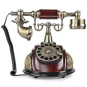 lnc retro vintage antique style rotary dial desk telephone phone home living room. Black Bedroom Furniture Sets. Home Design Ideas