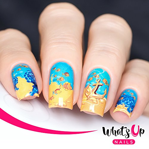 Fishin Water (Whats Up Nails – P007 Fishin For Gold Water Decals Sliders for Nail Art Design)
