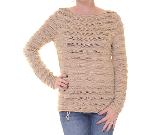 Lauren Ralph Lauren Womens Linen Open Stitch Sweater Tan - Ralph Lauren Sale Womens