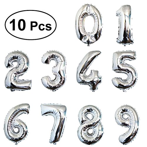 TOYMYTOY 16Inch Mini Number balloons Helium Foil Gold Digital Balloons Party Festival Decorations Supplies (Silver)]()