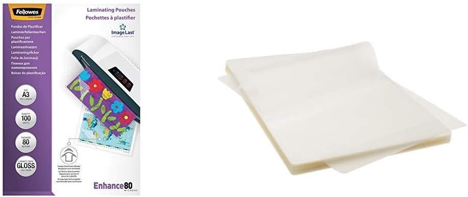 Fellowes 53062, Pack de 100 fundas para plastificar, brillo formato A3, 80 micras, surtido: modelos aleatorios & AmazonBasics - Láminas para plastificar (A4, 100 unidades): Amazon.es: Oficina y papelería