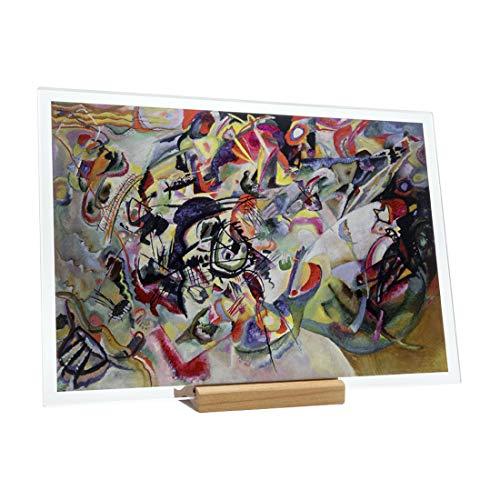 KORBAN - Cuadro moderno de doble cara Wassily Kandinsky - Composicion VII, coleccion Fenice Reproduccion de cuadro Famoso, impresion sobre cristal HD (20 x 14 cm)