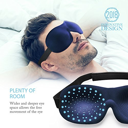 New Sleep Mask for Woman and Man, 3D Plus Eye Mask & Blindfold, Larger and Deeper Comfortable Sleeping Mask, Upgrade Total Blackout Eye Cover (Navy)