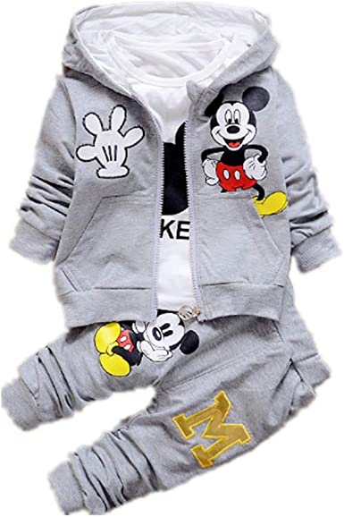 3pc Kids Baby Boys Girls Mickey //Little Bear Hooded Coat+Tops+Pants Clothes Sets