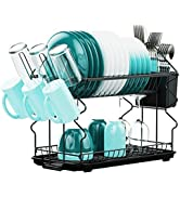 Dish Drying Rack, Veckle 2 Tier Compact Dish Rack with Utensil Holder, Cup Holder and Drain Tray ...