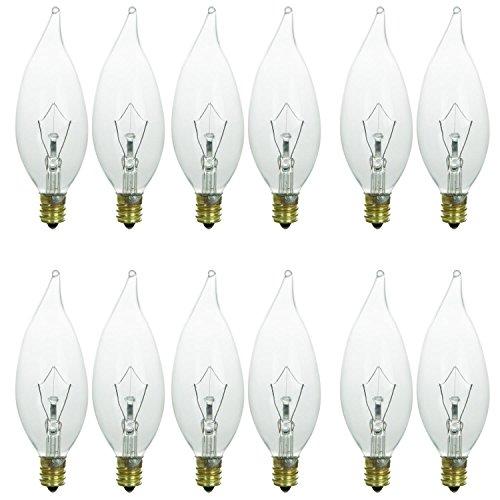 Sunlite 60CFC/32/12PK Candelabra (E12) Base Flame Tip 60W Incandescent Chandelier Crystal Clear Bulb (12 Pack)