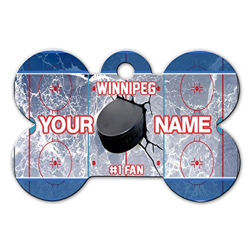 BleuReign(TM) Personalized Custom Name Hockey Team Winnipeg License Plate Bone Shaped Metal Pet ID Tag with Contact Information