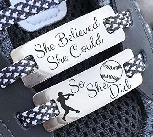 Softball Footwear - Softball Gifts, Shoe Lace Charms, Shoe Lace Tags, Shoe Tags, Shoe Plate, Sneaker Tag, Sneaker Lace Charm, Softball Gifts for Girls
