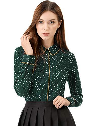 Allegra K Women's Polka Dots Long Sleeve Piped Button Down Office Shirt L Green