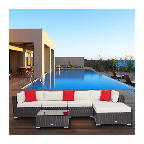 """Welpatio 6-Piece Patio Furniture Sectional Sofa Conversation Set Outdoor Rattan Wicker Furniture with Cushion& Three Pillows for Patio, Pool, Garden - 【Humanized No-Screws Design】- Which are connected with buckle and clips, time-saving easily assembly(NOTE: Total 5 shipping cartons, may be separated by Fedex while shipped to you from our warehouse in Atlanta, if there is any part missing or damaged during shipping, please contact us). 【High Quality Material】- Made of high-performance rust-prevention steel frame and all weather resistant PE rattan wicker; Thick back cushion covers is water-proof and easy-removed. 【Flexible Combination】- This 6-piece patio set sectional furniture contains 2 corner sofas, 2 middle sofas 1 footrest, 1 coffee table, which can have many configuration options based on your preference and placed position, such as the Chaise Longue can be specially constructed by 1 corner sofa, 1 footrest and a full size cushion (58.2""""L*31.5""""W*3.9""""H). - patio-furniture, patio, conversation-sets - 515WVZ0czCL. SS570  -"""