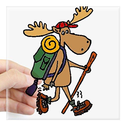 CafePress Moose Hiking Sticker Square Bumper Sticker Car Decal, 3