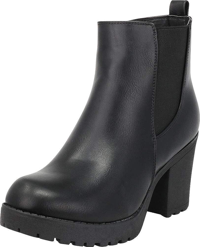 Black Pu Cambridge Select Women's Chelsea Stretch Chunky Lug Sole Platform Block Heel Ankle Bootie