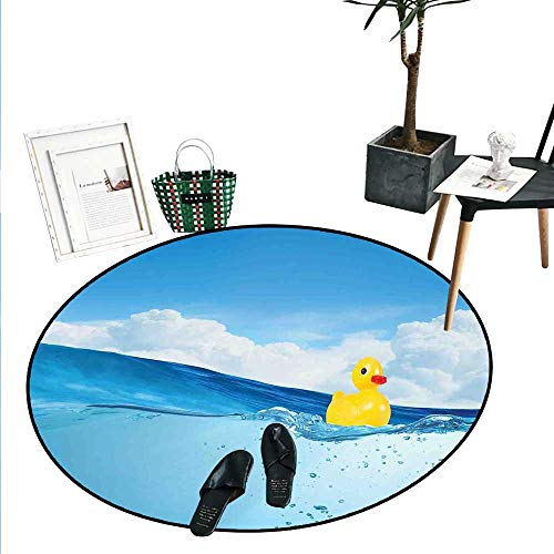 (Rubber Duck Round Small Door Mat Little Duckling Toy Swimming in Pond Pool Sea Sunny Day Floating on Water Indoor/Outdoor Round Area Rug (2' Diameter) Blue and Yellow)
