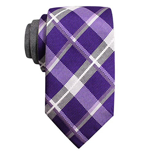 Alfani Men's Plaid Reversible Necktie, Purple/Gray (Mens Tie Reversible)