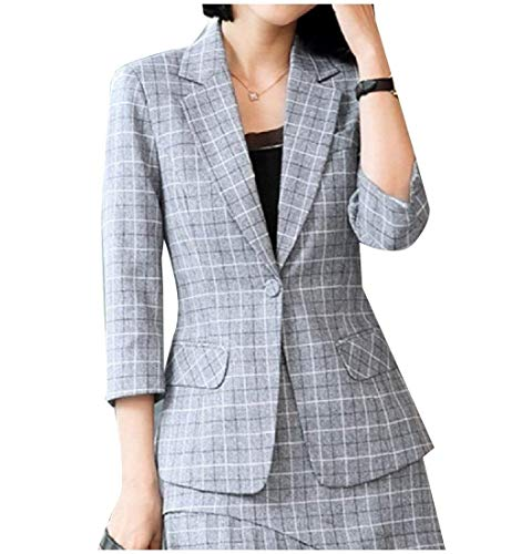 Marca Di Anteriori Bavero Modern Manica Da Tasche Elegante Tailleur Cappotto Mode Giacca Blazer Stile Grey Autunno Lunga Coat Donna Button Reticolo BZ4vqpPWwT
