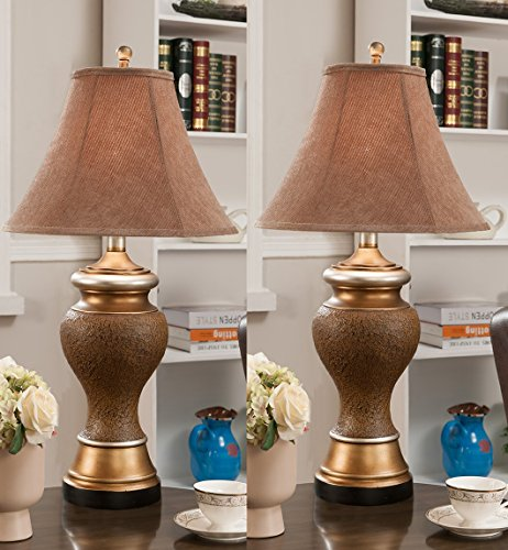 set-of-2-traditional-antique-brown-and-gold-fabric-shade-table-lamps