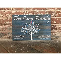 Family Tree Custom Sign, Personalized Canvas Sign, Distressed Blue Wood Background, Love Birds, Personalized, Perfect Birthday, Anniversary, Wedding or Christmas Gift