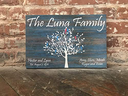 Custom Family Tree Sign, Personalized Canvas Sign, Distressed Blue, Wood Background, Love Birds, Personalized, Birthday, Anniversary or Wedding Gift]()