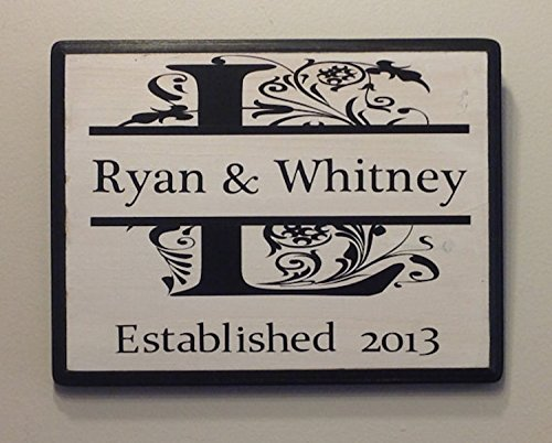 8x11 Personalized Wedding Gift, Bridal Shower, Engagement Gift, Anniversary. Initial Monogram Wall Decor with Established Date. Wedding date sign (Sawtooth Monogram)