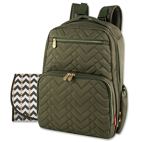 Fisher Price Diaper Bag Backpack – Signature Collection, with Cell Phone and Tablet Pockets and Stroller Clips (Olive)