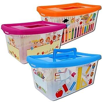 Aufbewahrungsboxen Fur Kinder Transparent Mit Deckel Und Handgriff 4 Liter 3 Stuck Sortiert