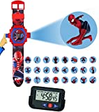 Pappi Boss Kids Favourite - Pack of 2 Spiderman Projector Wrist Band Watch for Kids, Children + Car Dashboard / Office Desk Alarm Table Clock with Stopwatch & Flexible Stand