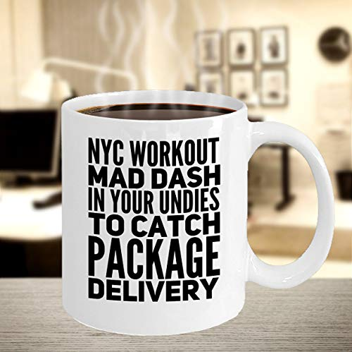 Nyc coffee mug nyc workout mad dash in your undies to catch delivery tea cup (Best Undies To Workout In)