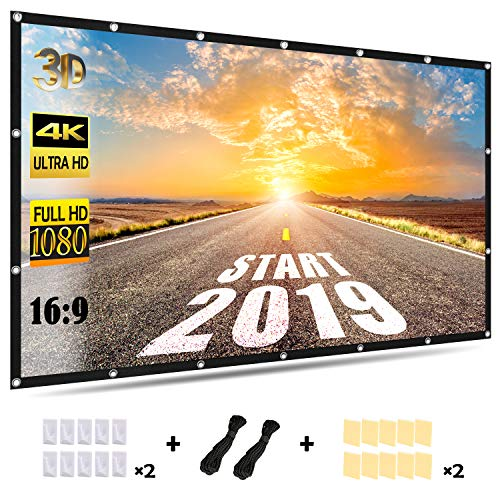 Projector Screen,AOFU Direct HD Projection Screen,120''16:9 in/Outdoor Home Movie Theater,Widescreen Foldable Portable,Easy to Clean,for Office Presentation,can Double-Sided Play(with Rope,Hook,Tape)