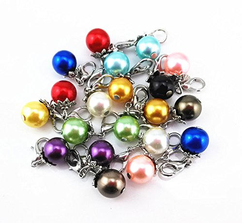 - Blovess yueton 20pcs Colorful Pearl Dangle Charms Pendant with Lobster Clasp Jewelry Making Accessory Fit Floating Locket Charms Necklaces (Silver)