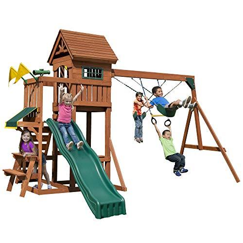 Swing-N-Slide PB 8331 Playful Palace Swing Set with Slide, Swings, Wood Roof, Picnic Table & Climbing Wall, Wood