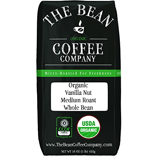 The Bean Coffee Company Organic Vanilla Nut, Medium Roast, Whole Bean, 16-Ounce Bag