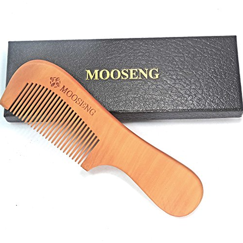 Mooseng Wooden Hair Comb Anti-Static & No Snag Handmade Comb for Beard Head Hair Mustache with Gift - Beards Mustaches Styled And