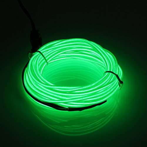 jiguoor EL Wire 16.4ft/ 5M with Battery Pack Super Bright Light Neon Tube Neon Glowing strobing of 360 Degrees of Illumination for Party Decoration (Green,16.4ft/ 5M)