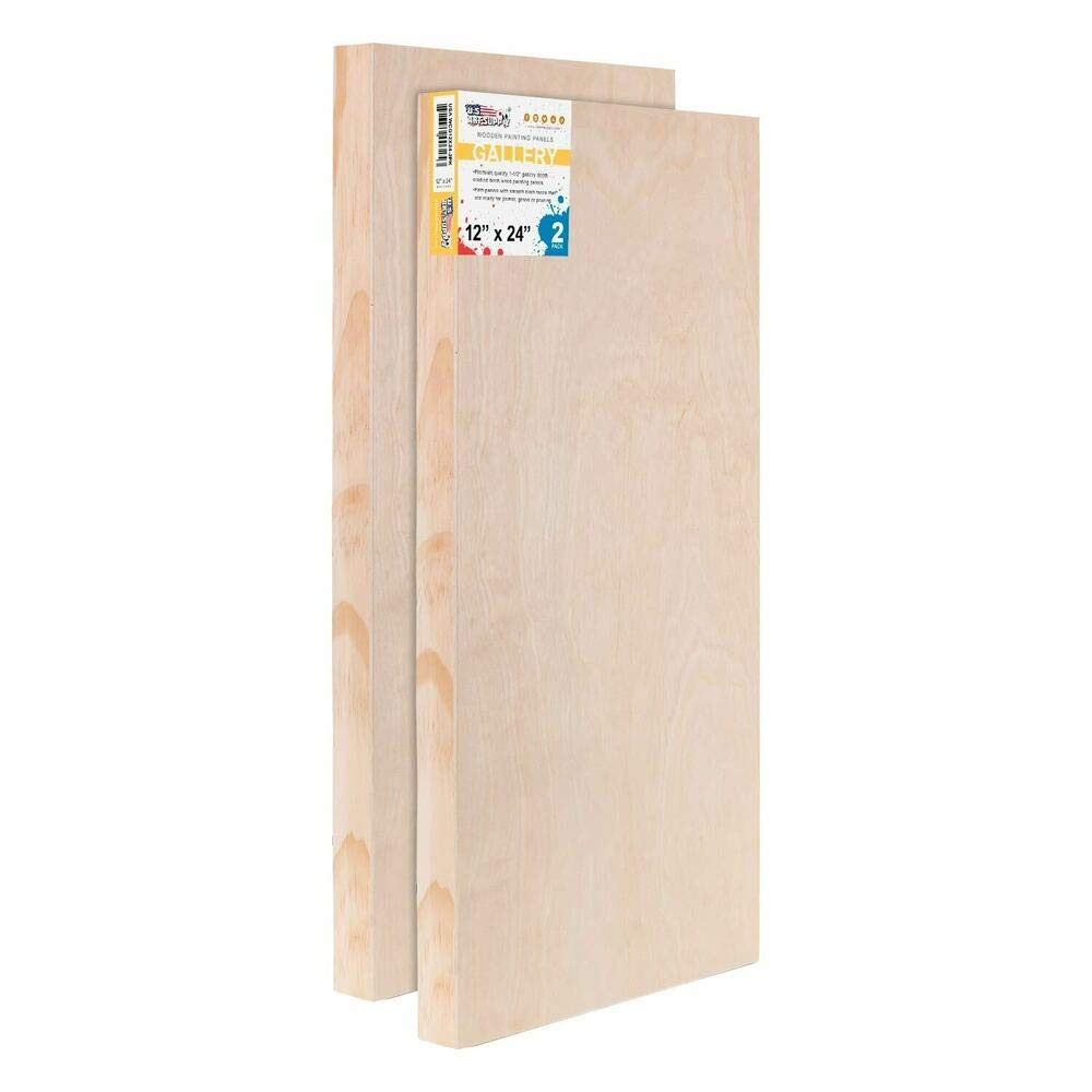 Excellent for Art Projects 12''x 24'' Gallery 1-1/2''Profile Depth Artist 2-Pack Wood Pouring Panel Board by Generic