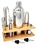 Cocktail Shaker Home Bar Set - 10 Piece Bartender Kit with Wooden Stand - Shaker, Hawthrone Strainer, Muddler, Jigger, Channel Knife, Mixing Spoon, Ice Tongs, 2 Pourer Accessories Bar Tool Set - Ryven