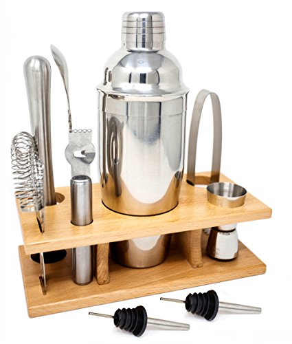 Cocktail Shaker Home Bar Set - 10 Piece Bartender Kit with Wooden Stand - Shaker, Hawthrone Strainer, Muddler, Jigger, Channel Knife, Mixing Spoon, Ice Tongs, 2 Pourer Accessories Bar Tool Set - Ryven 10 Piece Bar Set
