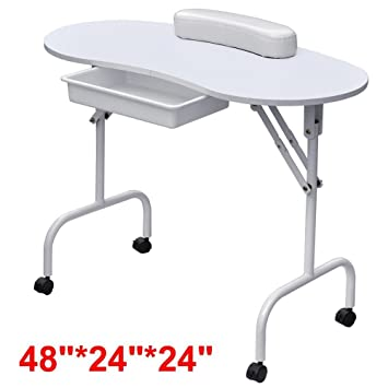 yaheetech portable u0026 foldable manicure table nail technician desk workstation with bag - Manicure Table