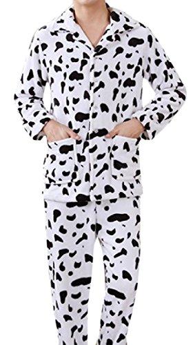 Sheng Xi Men¡¯s Splicing Lapel Flannel Cow Print Pajama Lounge Sleepwear Set Pattern16 M