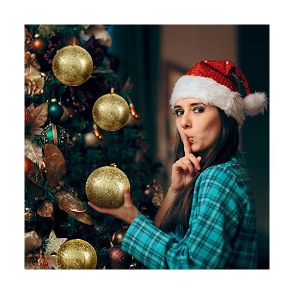 Palline di Natale Oro (Set da 2) - Palle di Natale Oro Grandi 15cm con Corda - Decorazioni Albero di Natale Oro in Plastica Infrangibile - Palline di Natale Dorate per Albero - Decorazioni Natalizie 4 spesavip